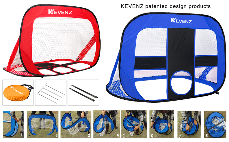 kevenz stainless steel frame pop up soccer goals portable soccer nets with carry bag - Pop Up Soccer Goals