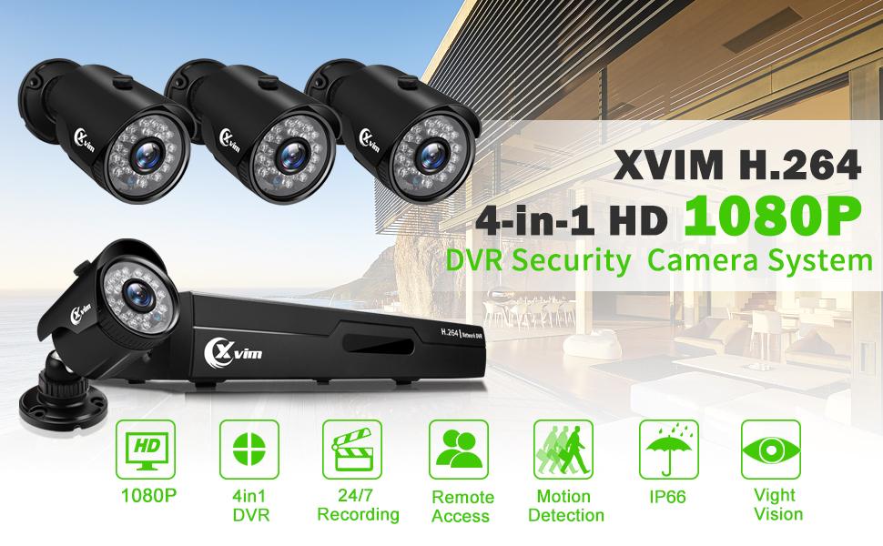 Flashandfocus.com f43731ed-a3b7-4197-b49f-dead7f5b746f._CR0,0,970,600_PT0_SX970__ XVIM 8CH 1080P Security Camera System Home Security Outdoor 1TB Hard Drive Pre-Install CCTV Recorder 4pcs HD 1920TVL…