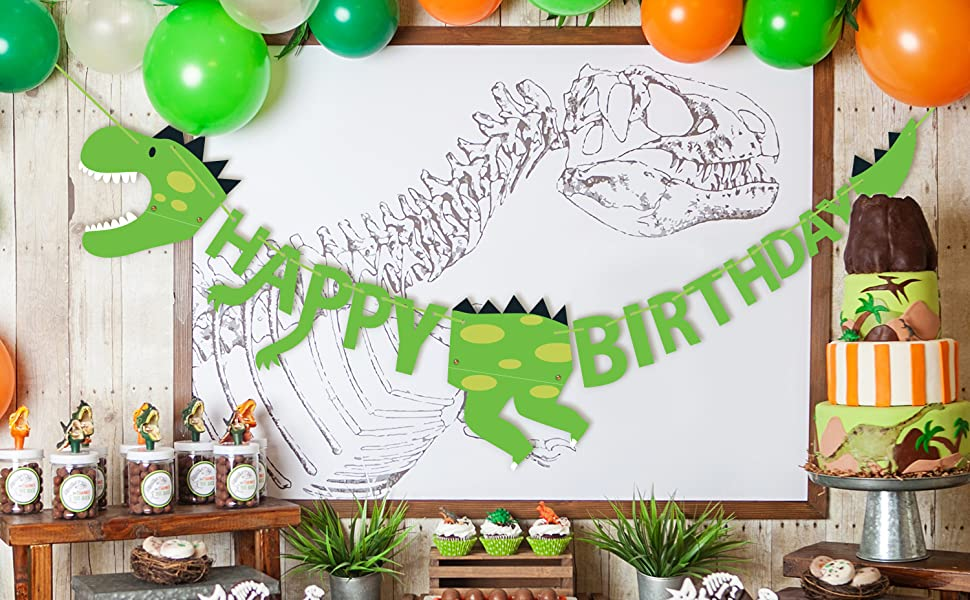 Dinosaur Happy Birthday Banner Kids Birthday Party Supplies Decorations with Letters Banners Dino Jungle Jurassic Garland