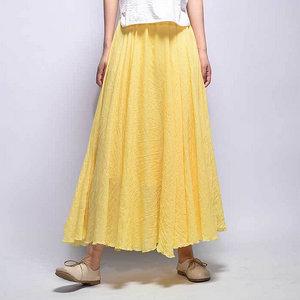 Phorecys Women s Full Circle Elastic Waist Band Cotton Long Maxi Skirt Dress 8728e4bcf