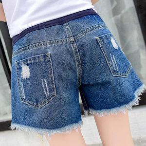 5901c01b72a Women s Summer Adjustable Maternity Pregnant Denim Shorts Blue Tag L ...