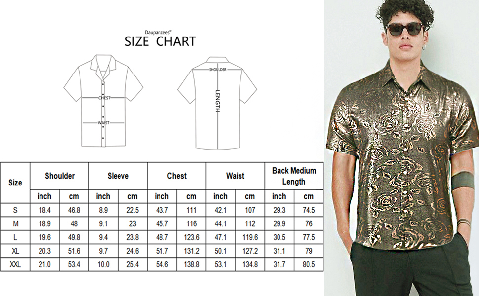Daupanzees Mens Paisley Shirt Luxury Design Short Sleeve Floral Print Casual Slim Fit Button Down Dress Shirts