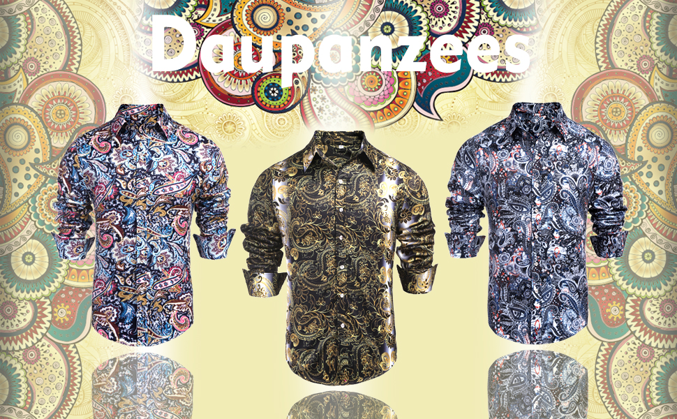 Men's Paisley Shirt Cotton Dress Shirt Hawaii Shirt Long Sleeve Hawaiin Casual Button Down Shirt