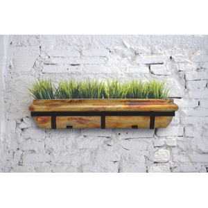 H Potter rustic copper flower window box planter deck railing