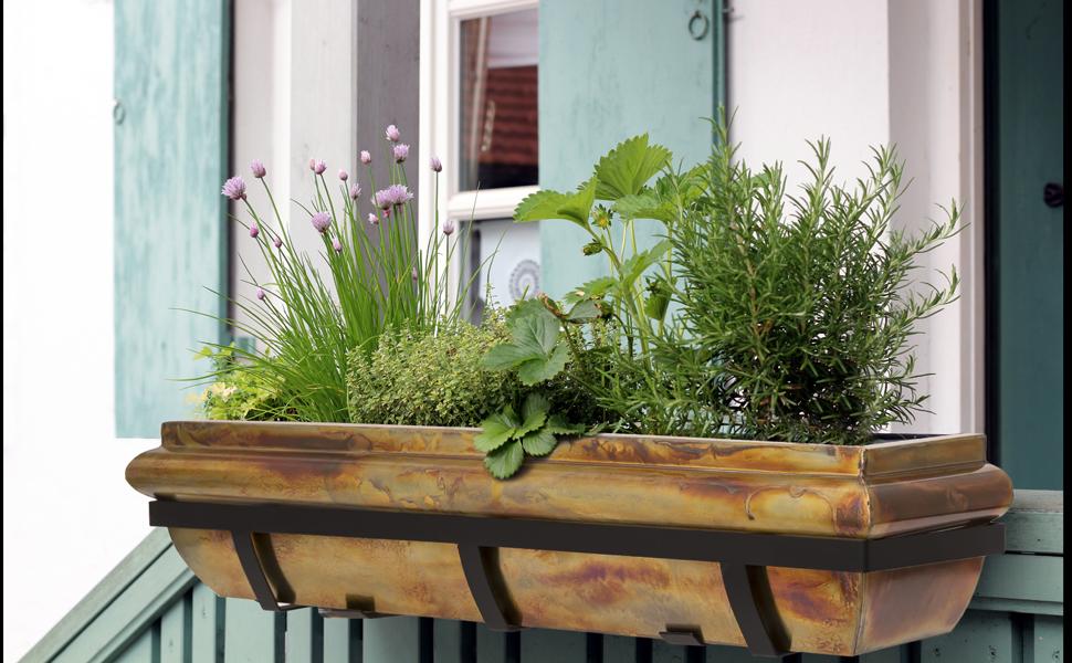 H Potter deck railing copper window box flower planter