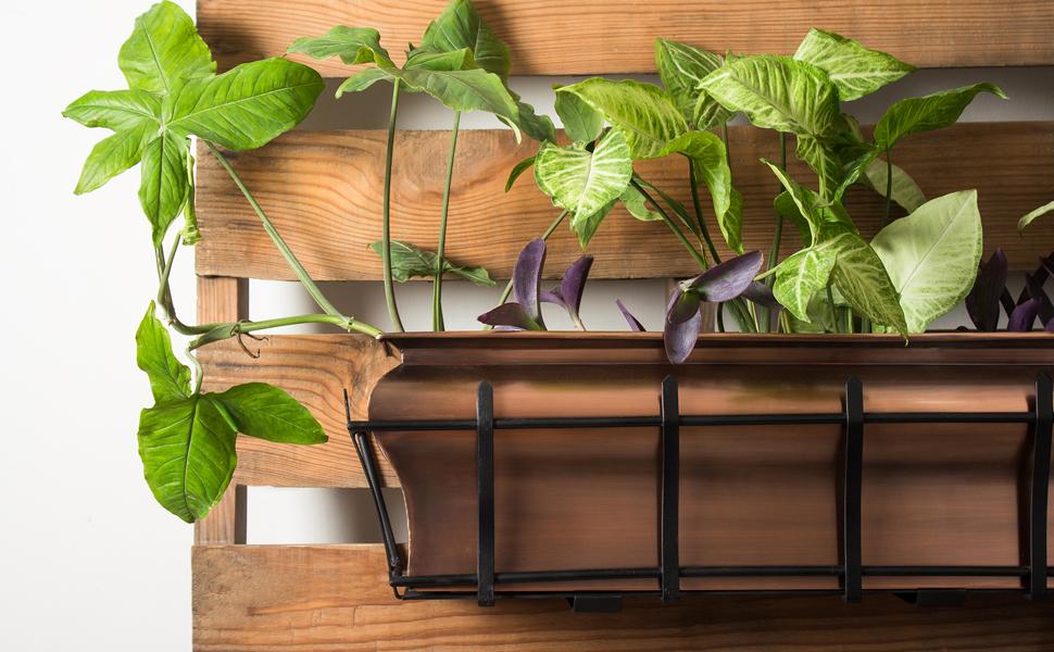 H Potter copper window box garden planter iron metal flowers outdoor decor accent