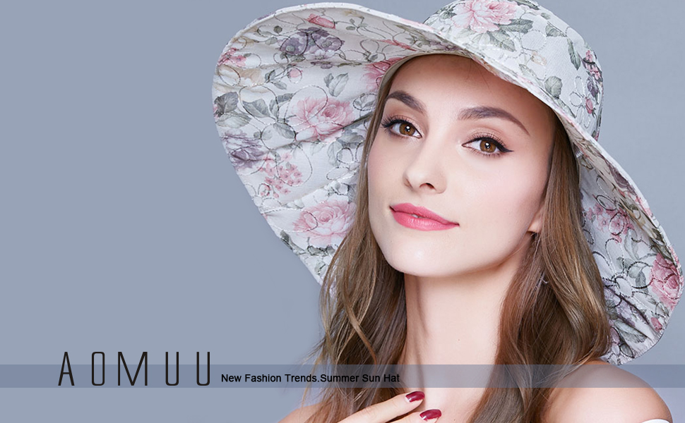 32e587969a9 AOMUU new summer beach hat made of imported fabrics with protection class  UPF 50+. The wide hat brim blocks most sun UV rays and provides excellent  full ...