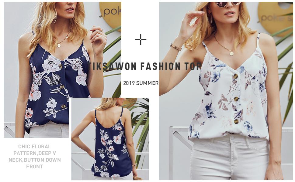 Tiksawon Womens Summer V Neck Strappy Cami Tank Tops Casual Loose Sleeveless Shirts Blouses