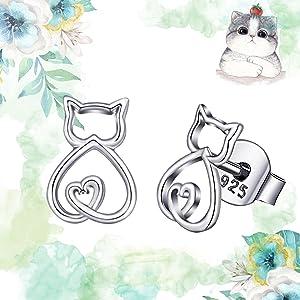 cat lovers earrings stud gift