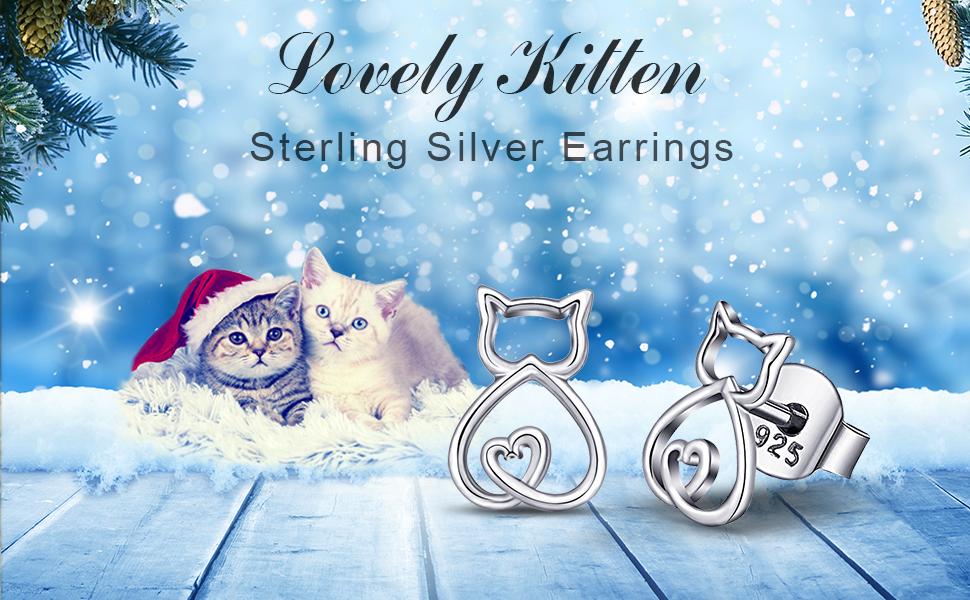 EUDORA Polished 925 Sterling Silver Cat Kitty Kitten Pet Lover Stud Earrings Feminine Gifts