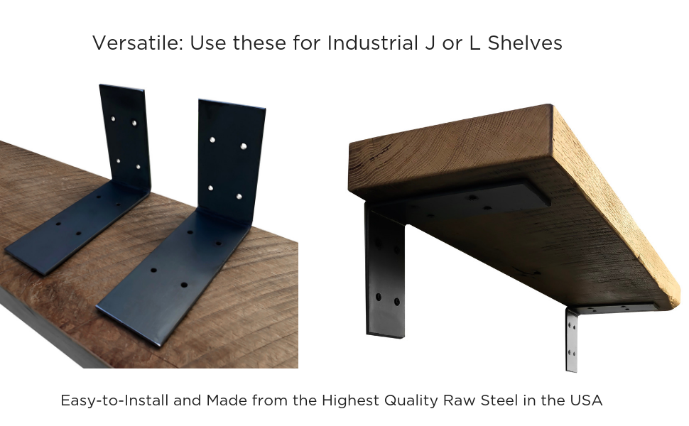 Industrial Forged Steel Floating Shelf L/J Bracket by DIY CARTEL - Heavy Duty Extra Wide Rustic Shelf Brackets - 2 Pack Wall Mount (Raw Steel)