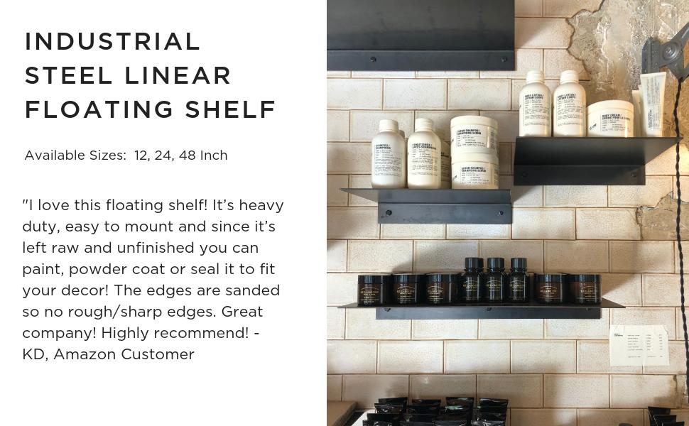 DIY CARTEL Made in USA Linear Floating Shelf - Raw Steel/Metal - Industrial Heavy Duty Metal Wall Mounted Modern Rustic Shelf (48-inch x 8-inch)