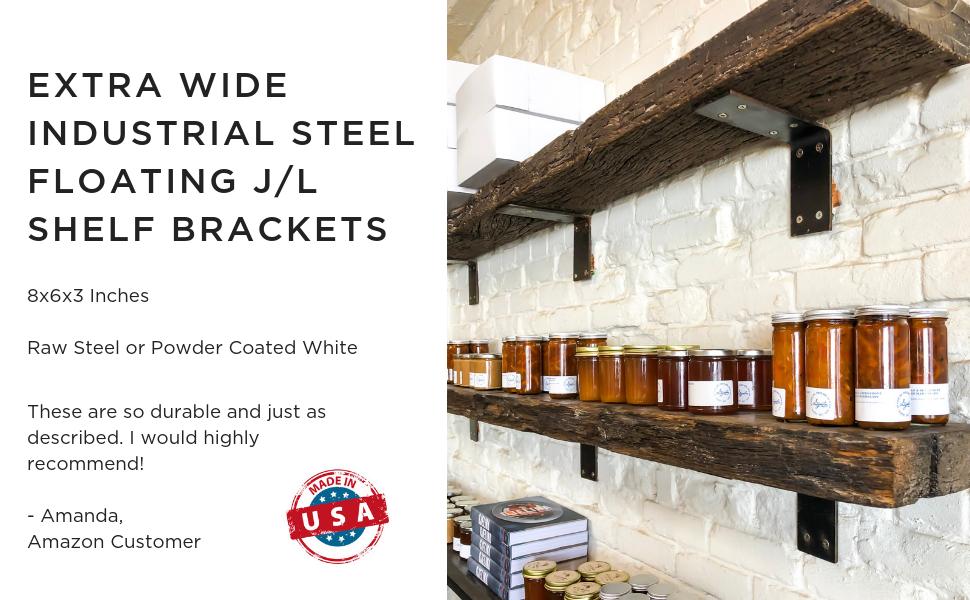 Made in USA by DIY CARTEL - Industrial Forged Steel Floating Shelf L/J Bracket - Heavy Duty Extra Wide Rustic Shelf Brackets - 2 Pack Wall Mount (Raw ...