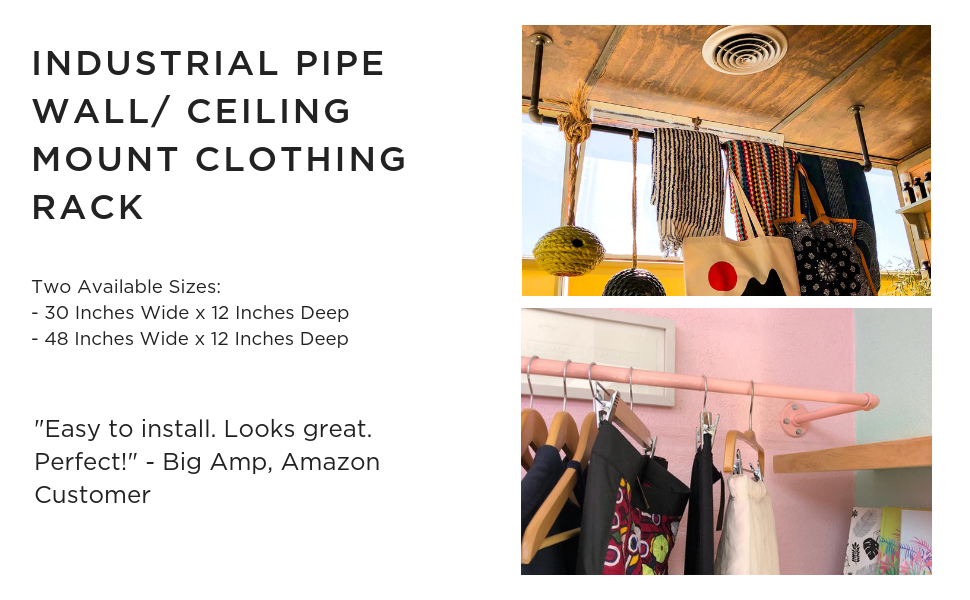 DIY CARTEL Industrial Pipe Wall/Ceiling Mount Clothing & Garment Rack - Hardware ONLY - Perfect Retail Display, Organizing, Laundry (48-inch X ...