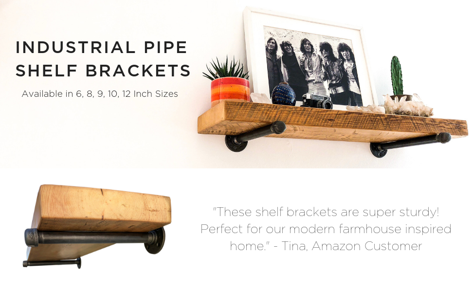 DIY CARTEL Industrial Pipe Shelf Brackets - Hardware Only. Perfect for: Custom Shelves, Floating Shelves, and Industrial/Vintage Pipe Furniture - ...