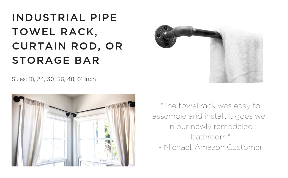 DIY CARTEL Industrial Pipe Towel Rack Hardware Only - Perfect for: Curtain Rod, Storage Bar, Coat Rack & Industrial Furniture/Farmhouse Decor (30 - ...
