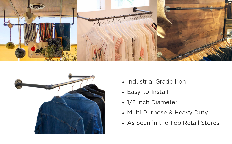 DIY CARTEL Industrial Pipe Wall/Ceiling Mount Clothing & Garment Rack -  Hardware ONLY - Perfect Retail Display, Organizing, Laundry (48-inch X