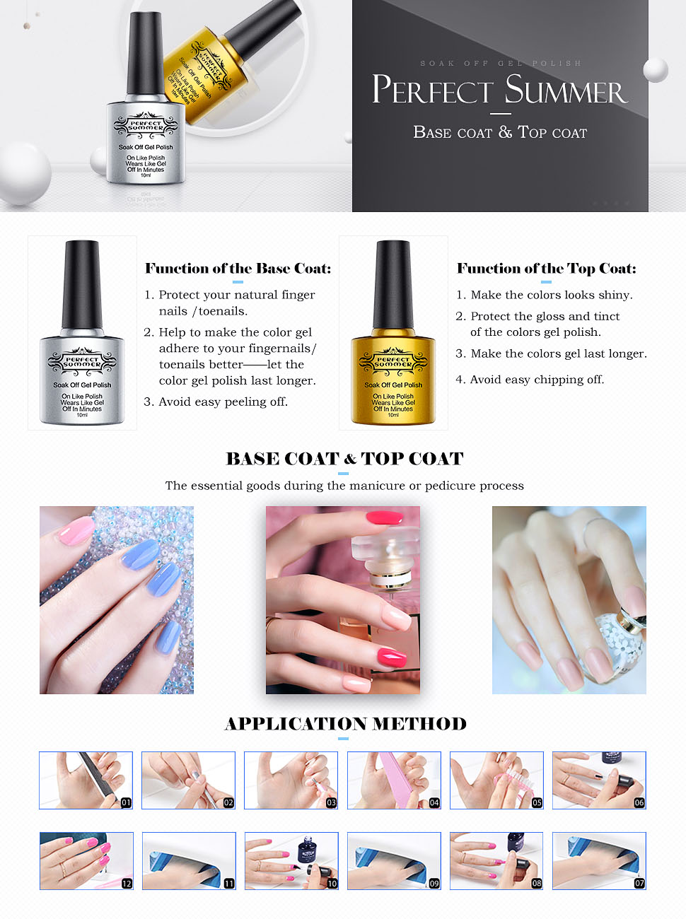 Amazon.com : Perfect Summer Clear Base Coat And Top Coat Set - UV ...