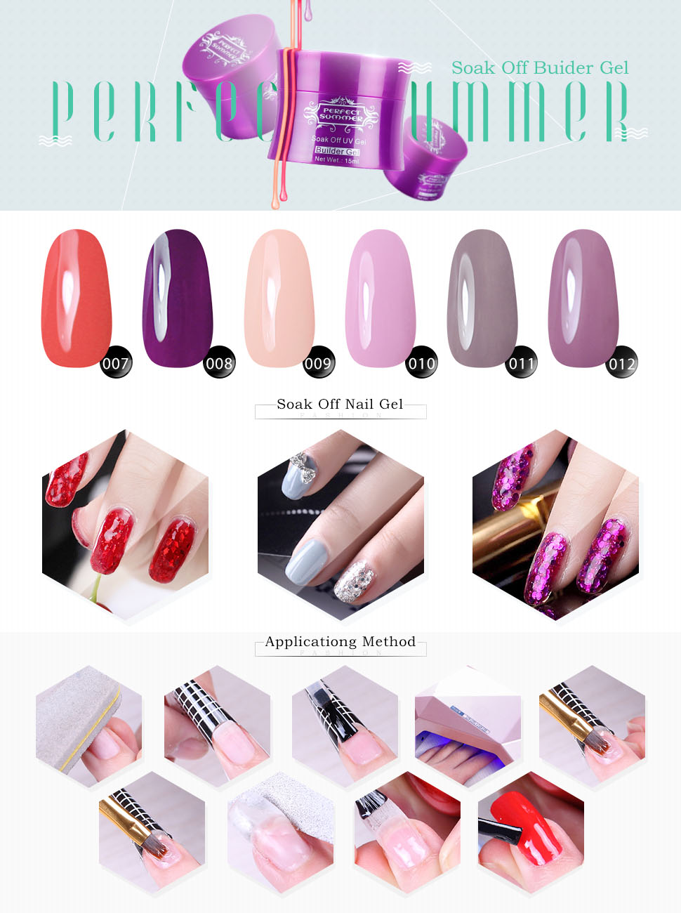 Amazon.com : Perfect Summer 6pcs UV Builder Gel Nail Polish + 2pcs ...