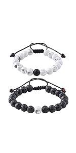 Bracelet for Couple Black Lava Rock & White Howlite Stone Beads
