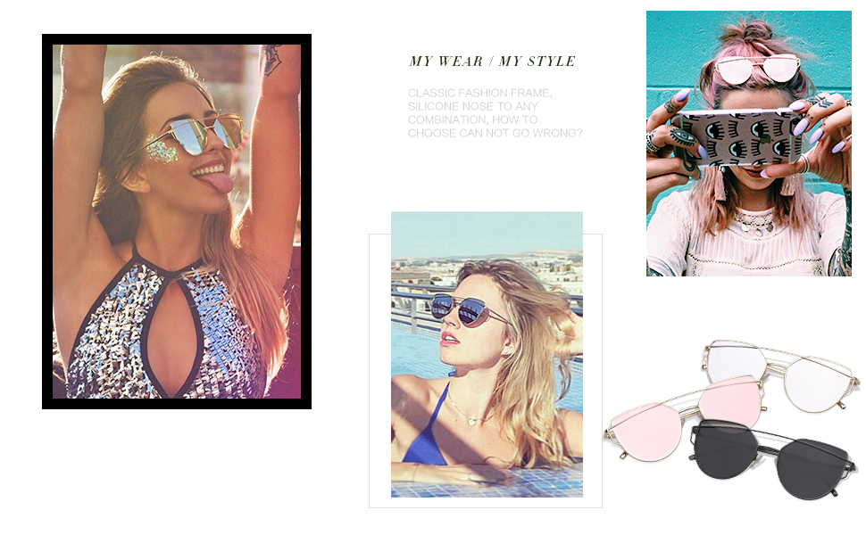 Cat Eye Mirrored Flat Lenses Street Fashion Metal Frame Women Sunglasses SJ1001