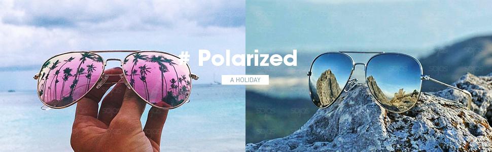 c6758d2d22 Amazon.com  SOJOS Classic Aviator Polarized Sunglasses Mirrored ...