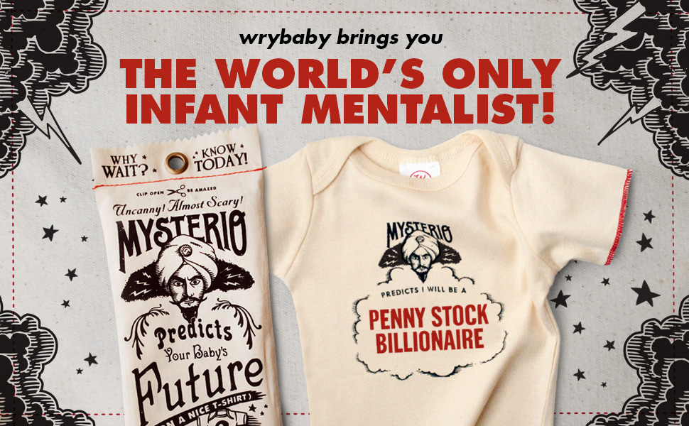 Mysterio Baby Tee by Wrybaby | Predicts Your Child's Future | Natural, 0-12M
