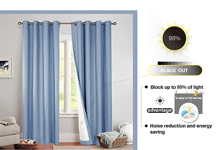 Bedroom Thermal Blackout Curtains Blue, Grommet Top