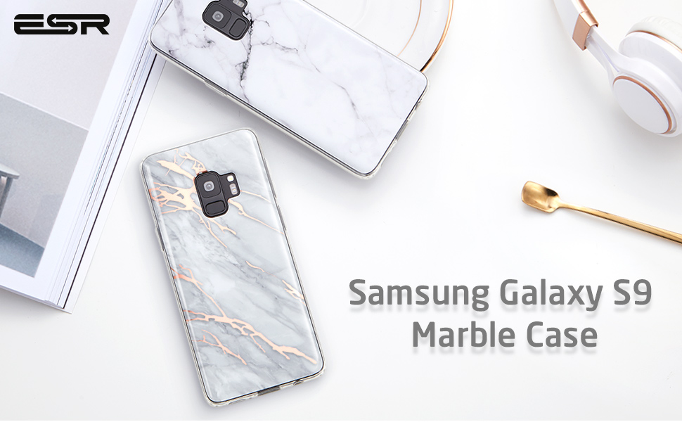 reputable site cd14d c5b0a ESR Marble Case Compatible for the Samsung Galaxy S9, Slim Soft Flexible  TPU Marble Pattern Cover Compatible for the Samsung Galaxy S9 5.8 inch ...