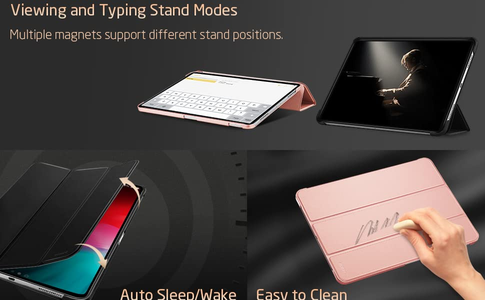 auto sleep and wake, typing and viewing stand mode, easy to clean