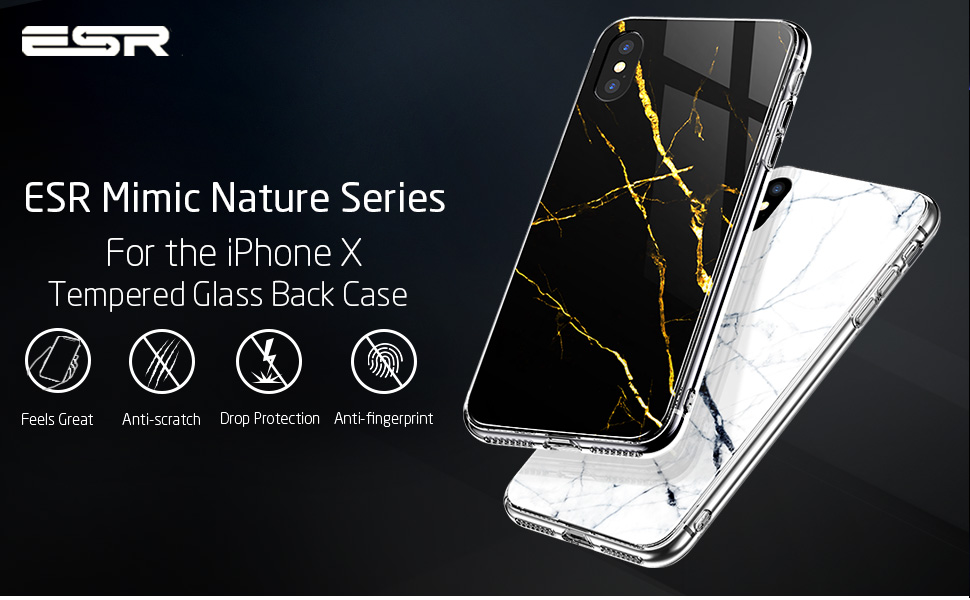 competitive price 9421f 4e3f5 ESR iPhone X Case, 9H Marble Tempered Glass Back Cover [Mimics The Glass  Back of The iPhone X][Scratch-Resistant] + Soft Silicone Bumper [Shock ...