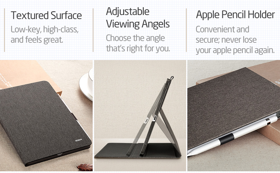 textured surface, adjustable viewing angles, apple pencil holder