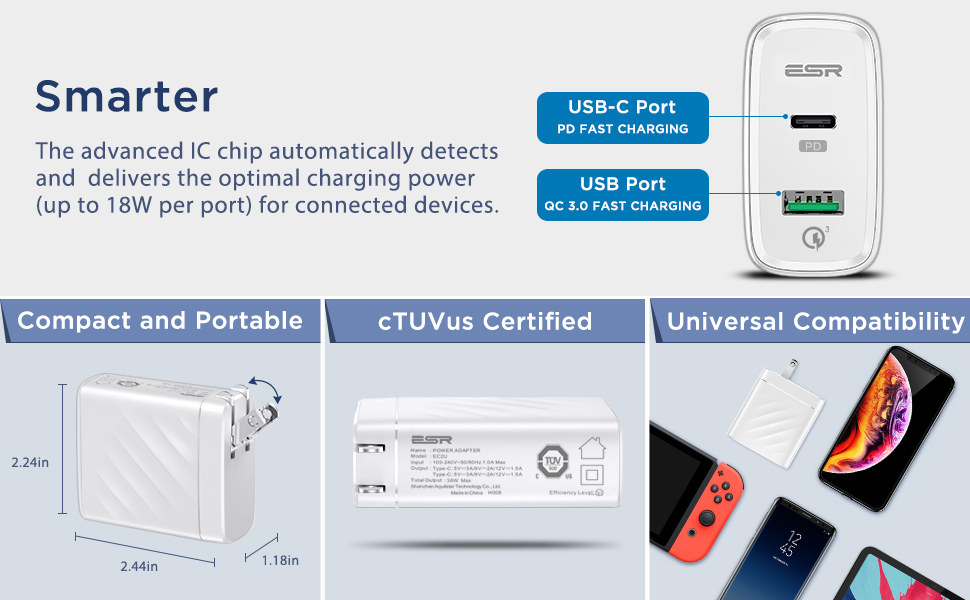 Pd Wall Charger 1 Usb C 1 Usb Qc Port For Ipad Iphone