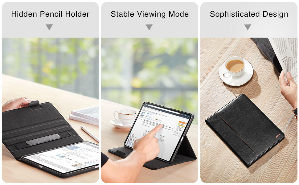 hidden pencil holder, stable viewing mode, classic design