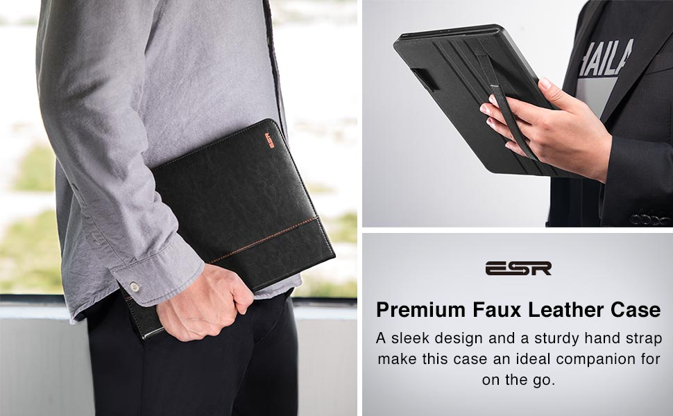 A sleek design and a sturdy hand strap make this case an ideal companion for on the go.