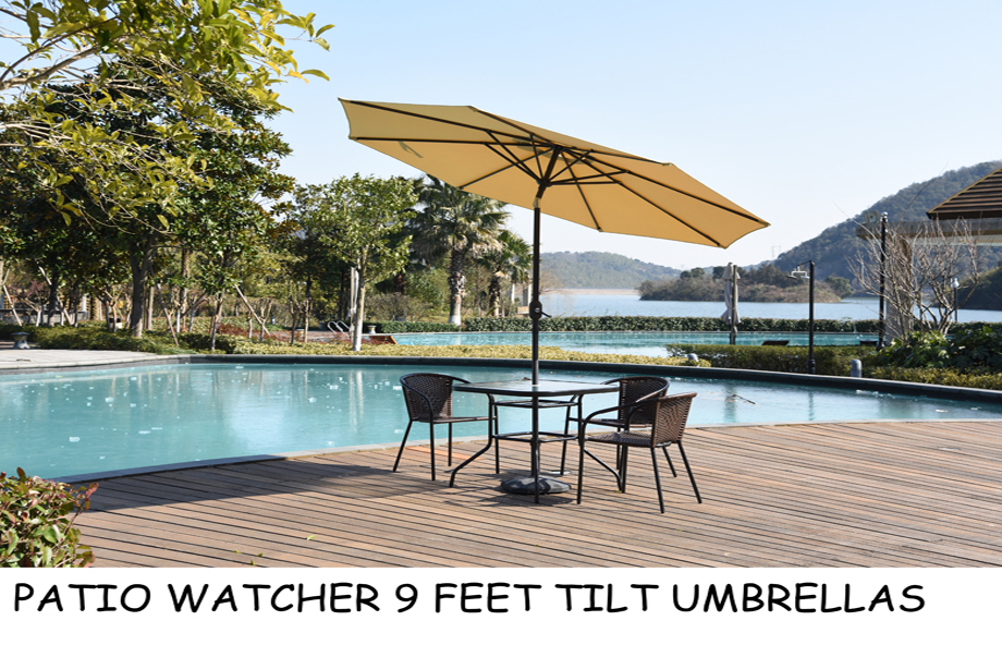 Patio Watcher 9 Feet Aluminum Polyester Patio Umbrella With Tilt