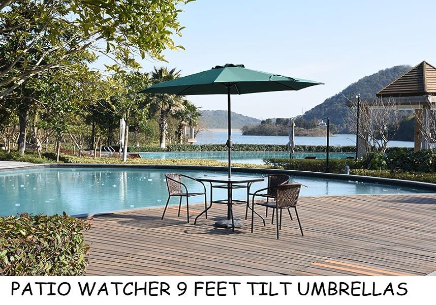 Patio Watcher 9 Feet Aluminum Polyester Patio Umbrella With Auto Tilt, Crank  And 8 Steel Ribs, Dark Green
