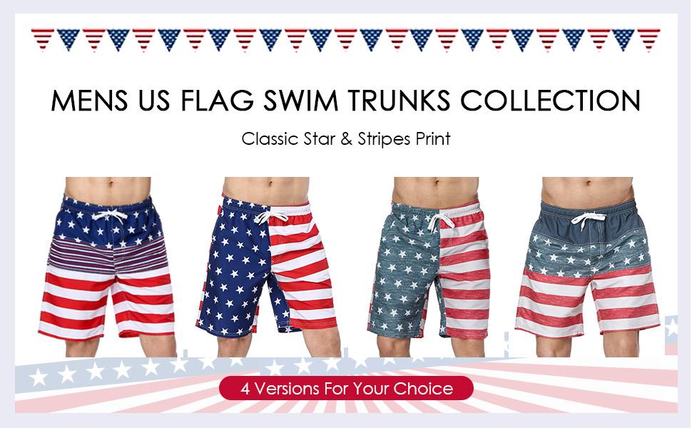 07cf20bacf5d8 Amazon.com: Sociala Men's American Flag Swim Trunks US Flag Bathing ...