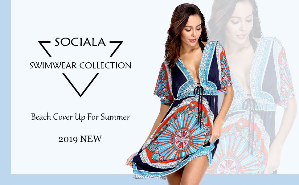 725ee9d21e2 Sociala Womens Strapless Cover Up Dress Bandeau Swimsuit Cover Up ...