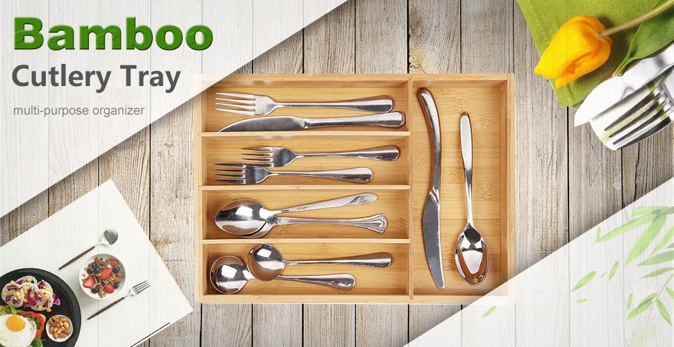 Amazon.com: bamburoba Bandejas de cubertería pequeña bambú ...