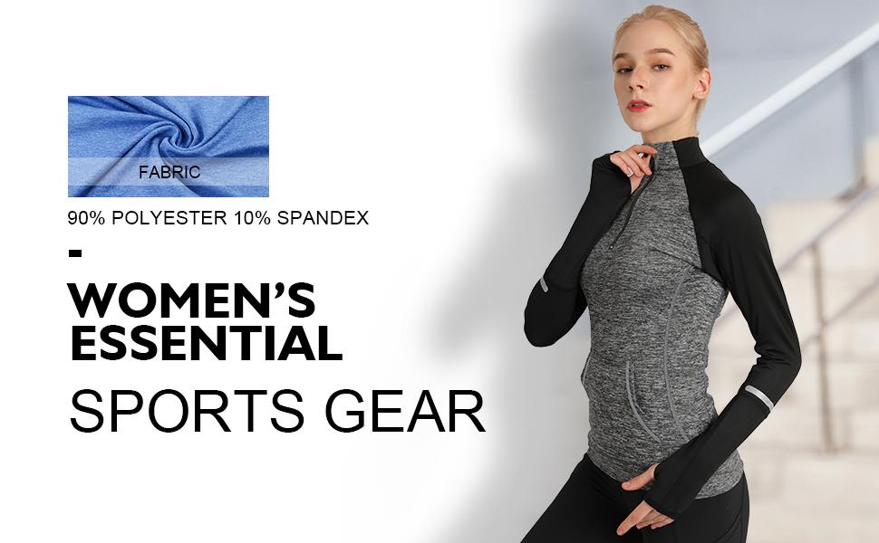 feec297a23f Cityoung Women s Yoga Long Sleeves Half Zip Sweatshirt Girl Athletic ...