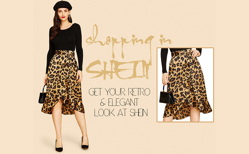 SheIn Women's Leopard Print Ruffle Hem Casual Midi Warp Skirt