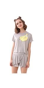 043798552e SheIn Women s Summer Cartoon Banana Print Tee   Shorts Pajamas Set Black · SheIn  Women s Summer Cartoon Banana Print Tee   Shorts Pajamas Set Navy ...
