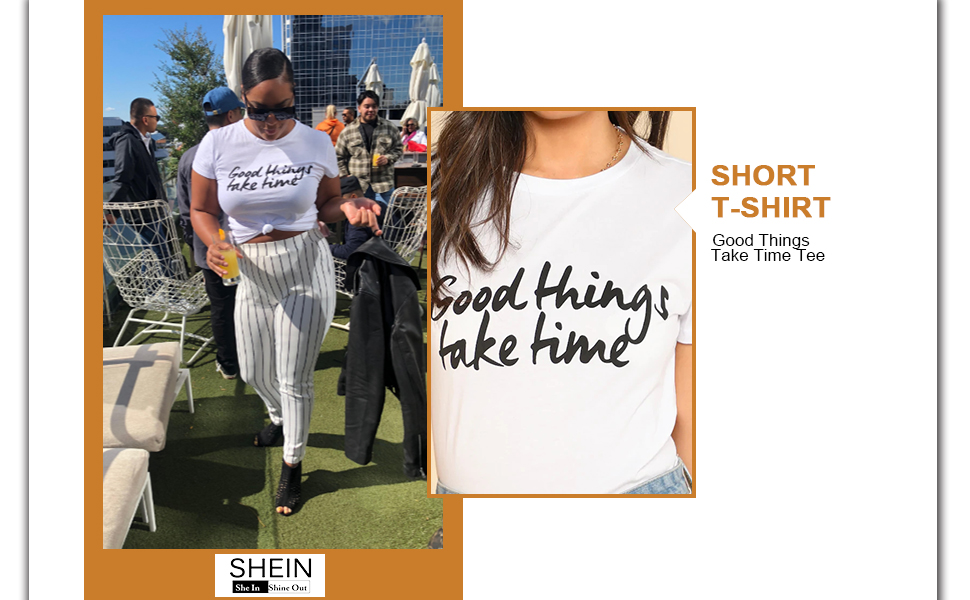 11a908957 Amazon.com: SheIn Women's Cute Short Sleeve Junior Tops Teen Girls ...