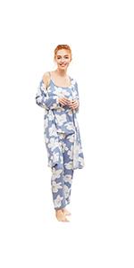 8492c4a281 SheIn Women's Cami & Pants Pajamas Set with Robe Sleepwear at Amazon ...