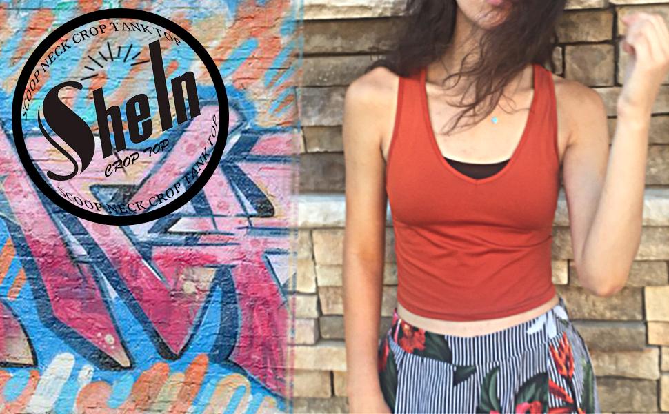 cfeba259a4d7e SheIn Women s Basic Scoop Neck Crop Stretchy Slim Fit Knit Tank Top ...