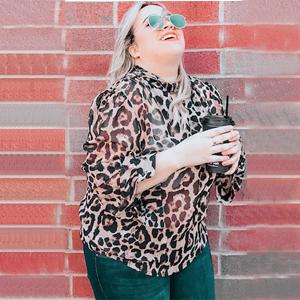 Leopard Print Blouse  1970s  Sheer  Size M-L