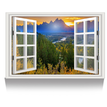 Bright Sunset Landscape Picture Wall Decor Stretched Giclee Print