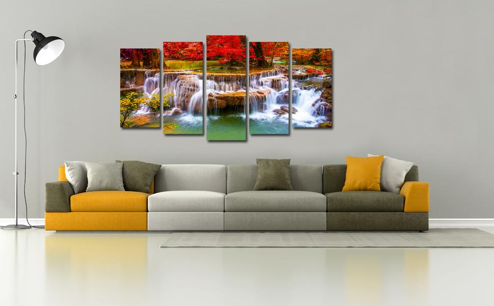 modern painting, waterfall