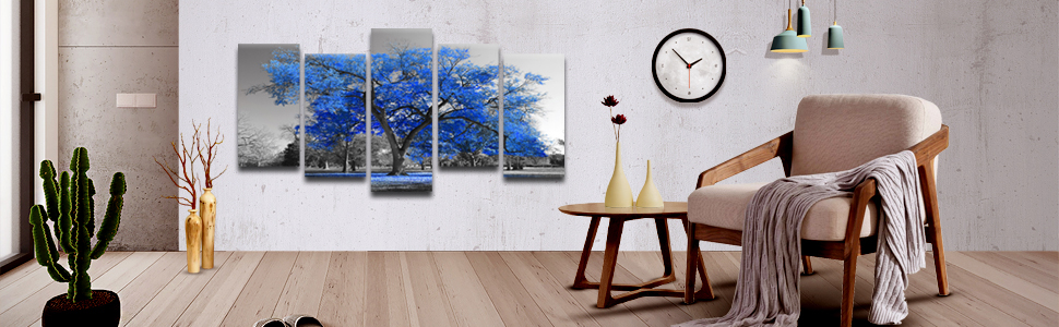 5 Piece black and white forest canvas pictures for walls